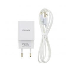 USAMS T21 USB 2A Cest. Nab. + Type C Kabel White (EU Blister)